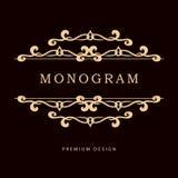 Modello floreale semplice e grazioso di progettazione del monogramma Linea elegante progettazione di logo di arte Illustrazione d Fotografie Stock Libere da Diritti