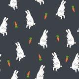 Modello floreale senza cuciture con coniglio e la carota Immagine Stock