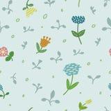 Modello floreale senza cuciture con i fiori e le foglie pastelli su fondo grigio Immagini Stock