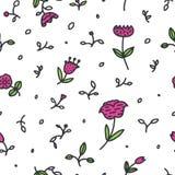 Modello floreale senza cuciture con i fiori e le foglie rosa su fondo bianco Fotografie Stock
