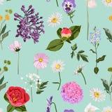 Modello floreale senza cuciture con i molti genere di fiori della molla sul fondo d'annata della menta illustrazione di stock