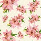 Modello floreale senza cuciture con il fiore rosa del giglio Immagine Stock Libera da Diritti