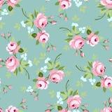 Modello floreale senza cuciture con le piccole rose rosa Fotografie Stock