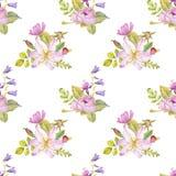 Modello floreale senza cuciture dell'acquerello illustrazione di stock