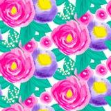 Modello floreale senza cuciture dell'acquerello Fotografia Stock