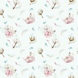 Modello floreale senza cuciture dell'acquerello con cotone Modelli naturali della Boemia: foglie, piume, fiori, bianco rosa di bo illustrazione vettoriale