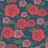 Modello floreale senza cuciture elegante con le rose illustrazione vettoriale