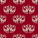 Modello floreale senza cuciture marrone rossiccio e bianco Immagini Stock Libere da Diritti