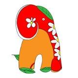 Modello floreale stilizzato dell'elefante con le margherite Fotografia Stock
