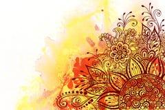 Modello floreale sulla pittura dell'acquerello Fotografia Stock