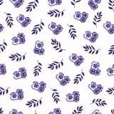 Modello floreale sveglio nel piccolo fiore Watercolo senza cuciture della mano illustrazione vettoriale