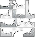 Modello a fondo grigio della pagina del libro di fumetti Fotografie Stock Libere da Diritti