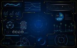 Modello futuristico del sistema virtuale dell'interfaccia del GUI di Hud royalty illustrazione gratis