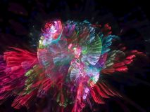 Modello futuristico di frattale di esplosione di fantasia della particella di struttura digitale vibrante astratta di progettazio illustrazione vettoriale