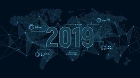 Modello futuristico moderno per 2019 su fondo con la mappa della struttura e di mondo del collegamento dei poligoni in pixel Fotografie Stock Libere da Diritti