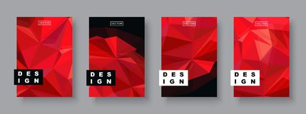 Modello futuro del manifesto di progettazione futuristica Pendenze geometriche minime del modello Pianeta rosso di semitono polig Fotografia Stock