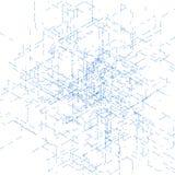 Modello generato da computer isometrico astratto 3D Fotografie Stock
