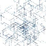 Modello generato da computer isometrico astratto 3D Immagini Stock