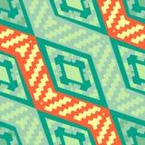 Modello geometrico africano diagonale verde del turchese Immagini Stock Libere da Diritti