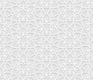 Modello geometrico arabo senza cuciture, 3D modello bianco, ornamento indiano, motivo persiano, vettore La struttura senza fine p Fotografia Stock