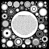 Modello geometrico astratto in bianco e nero per il vostro testo, vettore del manifesto dei cerchi Fotografia Stock