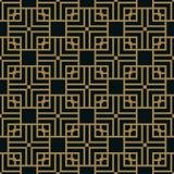 Modello geometrico astratto con le linee Un fondo senza cuciture di vettore Struttura blu dell'oro e nera illustrazione di stock