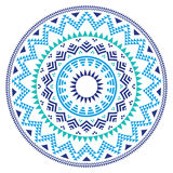 Modello geometrico azteco piega tribale nel cerchio - blu, marina e turchese