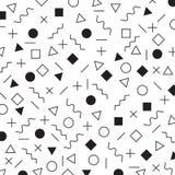 Modello geometrico in bianco e nero di stile di Memphis degli elementi gli anni 80 di era - fondo di anni degli anni 90 illustrazione di stock