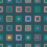 Modello geometrico di vettore senza cuciture con il rombo, quadrati fondo senza fine con le figure geometriche strutturate disegn Fotografia Stock