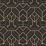 Modello geometrico moderno delle mattonelle di vettore forma allineata dorata Fondo di lusso senza cuciture astratto illustrazione vettoriale