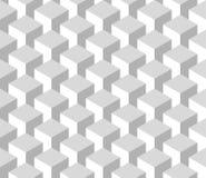 Modello geometrico senza cuciture 3D delle colonne del cubo Fondo astratto di vettore di progettazione in tonalità di grey Fotografia Stock Libera da Diritti