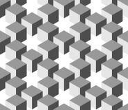 Modello geometrico senza cuciture 3D delle colonne del cubo Fondo astratto di vettore di progettazione in tonalità di grey Immagini Stock Libere da Diritti