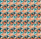 Modello geometrico senza cuciture della piastrellatura del triangolo di vettore in Teal And Orange Colours Fotografia Stock Libera da Diritti
