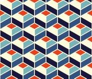 Modello geometrico senza cuciture della piastrellatura di vettore nei colori blu ed arancio con il profilo bianco illustrazione di stock
