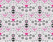 Modello geometrico senza cuciture messicano con i fiori, progettazione blu di arte di piega di festa ispirata da forma di arte tr illustrazione di stock
