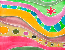 Modello geometrico a strisce astratto su batik di seta Immagine Stock Libera da Diritti