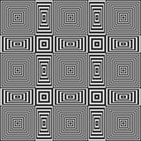 Modello geometrico tremulo di illusione ottica con le bande in bianco e nero Immagini Stock
