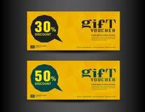 Modello giallo del buono di sconto, progettazione del buono, biglietto, insegna, c Fotografia Stock