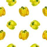 Modello giallo del pepe dell'acquerello Fondo senza cuciture con i peperoni dolci Immagini Stock Libere da Diritti