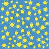 Modello giallo del sole su fondo blu Immagini Stock