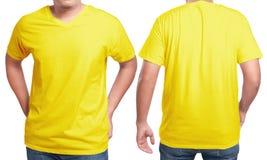 Modello giallo di progettazione della camicia del collo a V Fotografia Stock Libera da Diritti