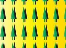 Modello giallo e verde astratto moderno semplice dell'albero Immagini Stock