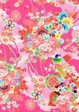Modello giapponese floreale di stile del kimono di rosa illustrazione di stock