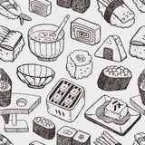 Modello giapponese senza cuciture dei sushi Fotografia Stock