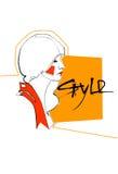 Modello Girl Head Hairstyle di stile della raccolta di modo illustrazione vettoriale