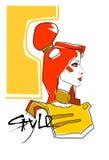 Modello Girl Head Hairstyle di stile della raccolta di modo illustrazione di stock