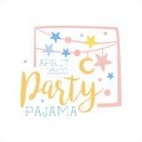 Modello Girly della carta dell'invito del pigiama party con le ghirlande che invitano i bambini per lo Sleepover di notte del pig Immagini Stock Libere da Diritti