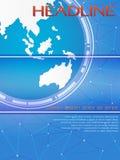 Modello globale blu per la copertura di rivista o dell'opuscolo Fotografia Stock