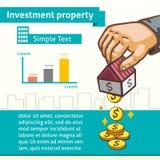 Modello grafico della proprietà di investimento con i soldi dei guadagni della mano Immagini Stock Libere da Diritti