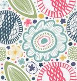 Modello grafico tirato nello stile rurale Fondo astratto con i fiori stilizzati Immagini Stock Libere da Diritti